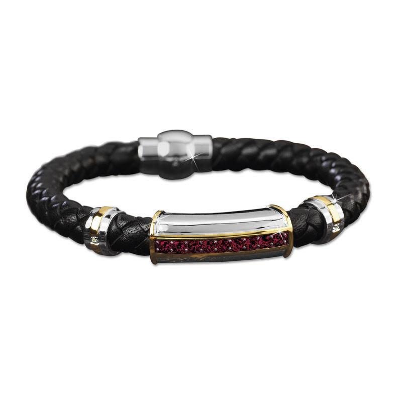 mens birthstone leather bracelet UK MBLBR2 a main