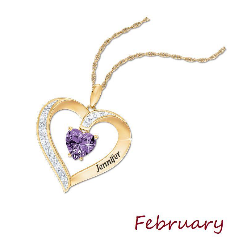 personalised birthstone heart pendant UK PBHP c three