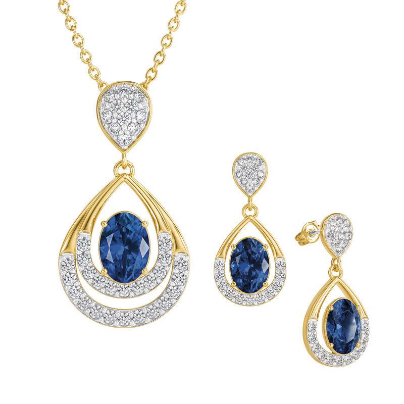 Birthstone Necklace Earring Set UK BSTDS i september