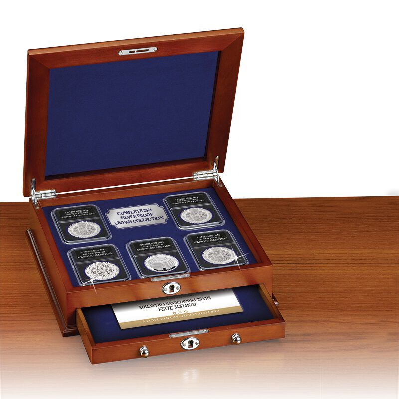 the complete 2021 silver proof crown collection UK A21C c three