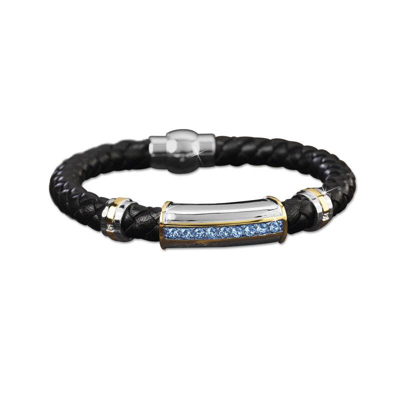 mens birthstone leather bracelet UK MBLBR2 i nine