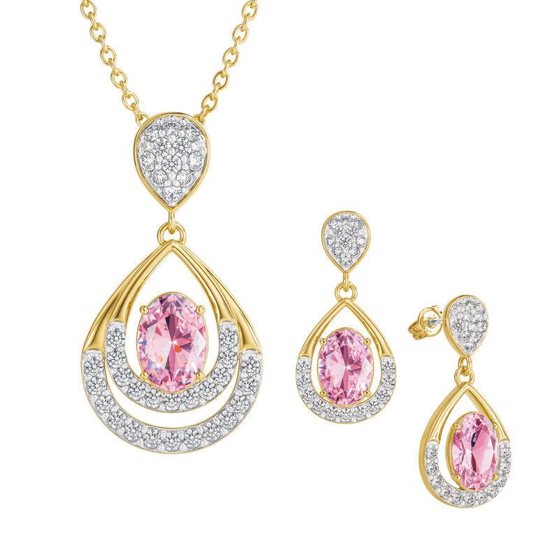 Birthstone Necklace Earring Set UK BSTDS j october