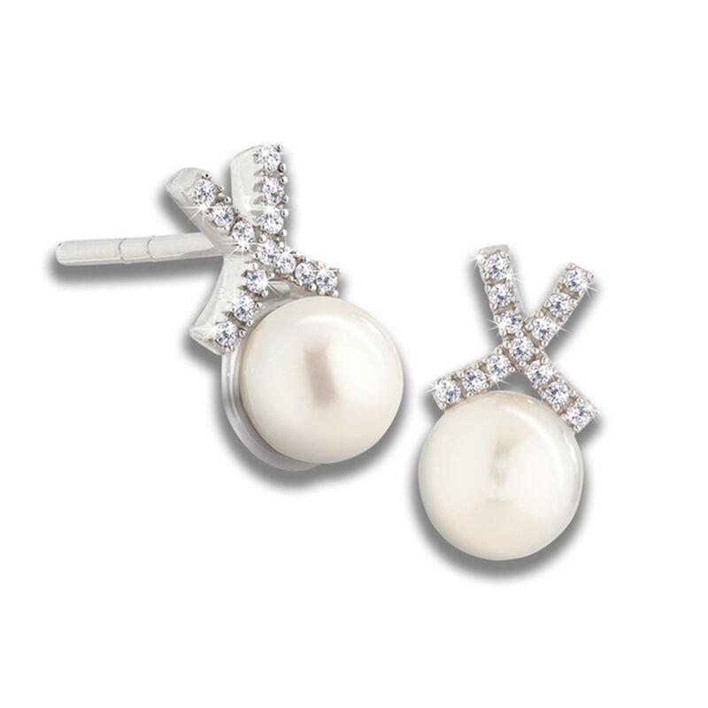 pearl diamond kiss earrings UK PDKE a main