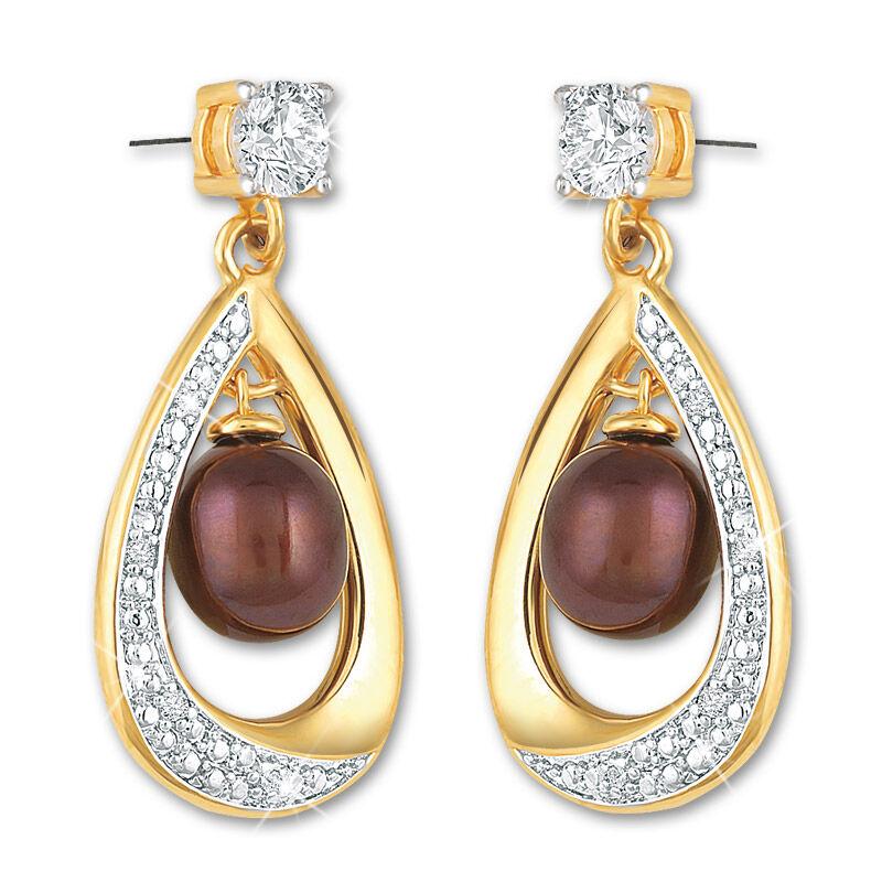 drops of mocha pearl earrings UK DOMPE a main