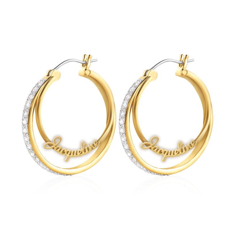 personalised double hoop earrings UK PDHE a main