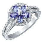 tanzanite blossom silver ring UK TBLR a main
