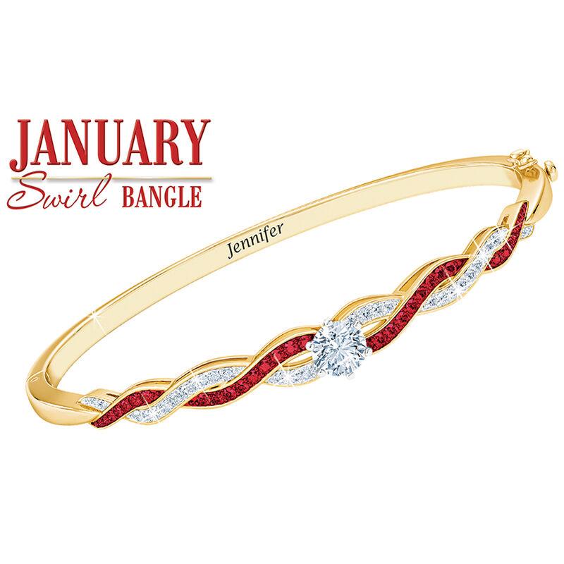 birthstone swirl personalised bangle UK BSWBA b two