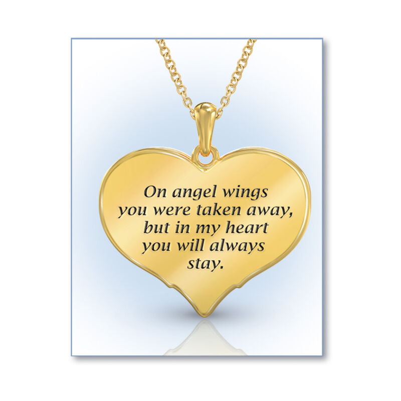 on angel wings remembrance pendant UK OAWP c three