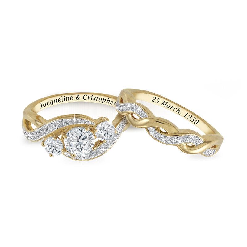 three stone bridal ring set UK TSBS b two
