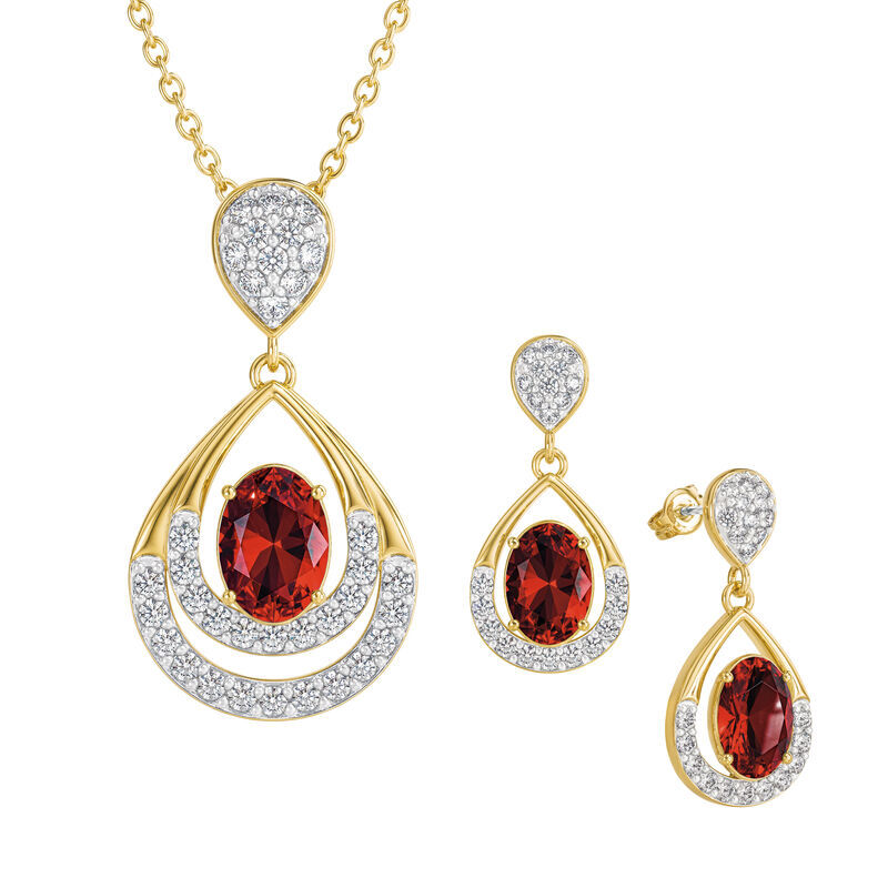 Birthstone Necklace Earring Set UK BSTDS a january