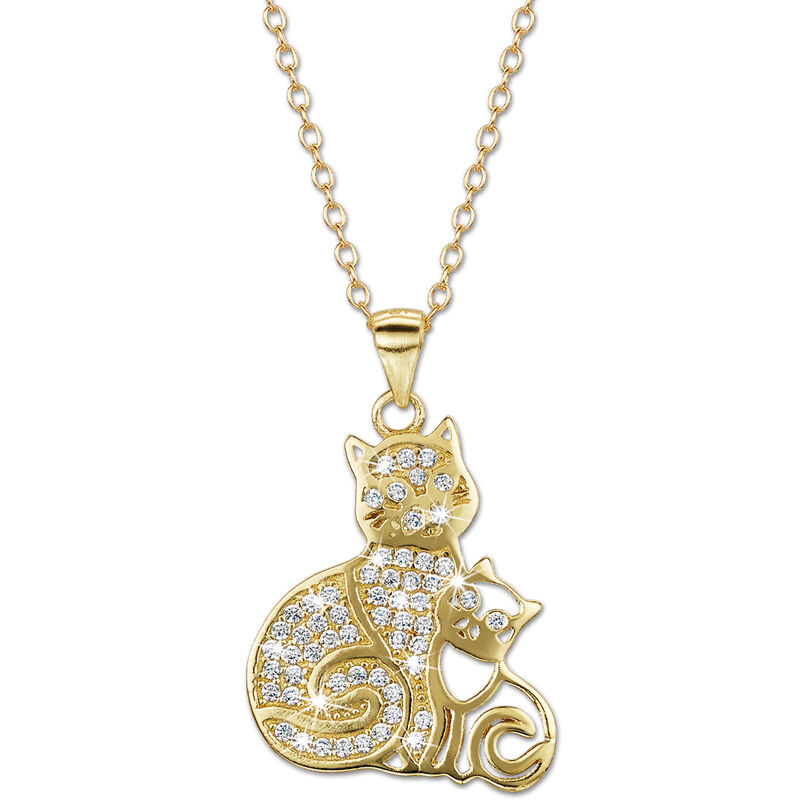 cat with her kitten pendant UK CWKP2 a main