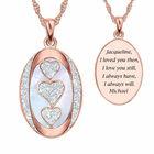 rose gold plated personalised love poem diamond pendant UK RPLPDP a main