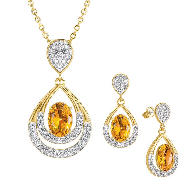 Birthstone Necklace Earring Set UK BSTDS k november