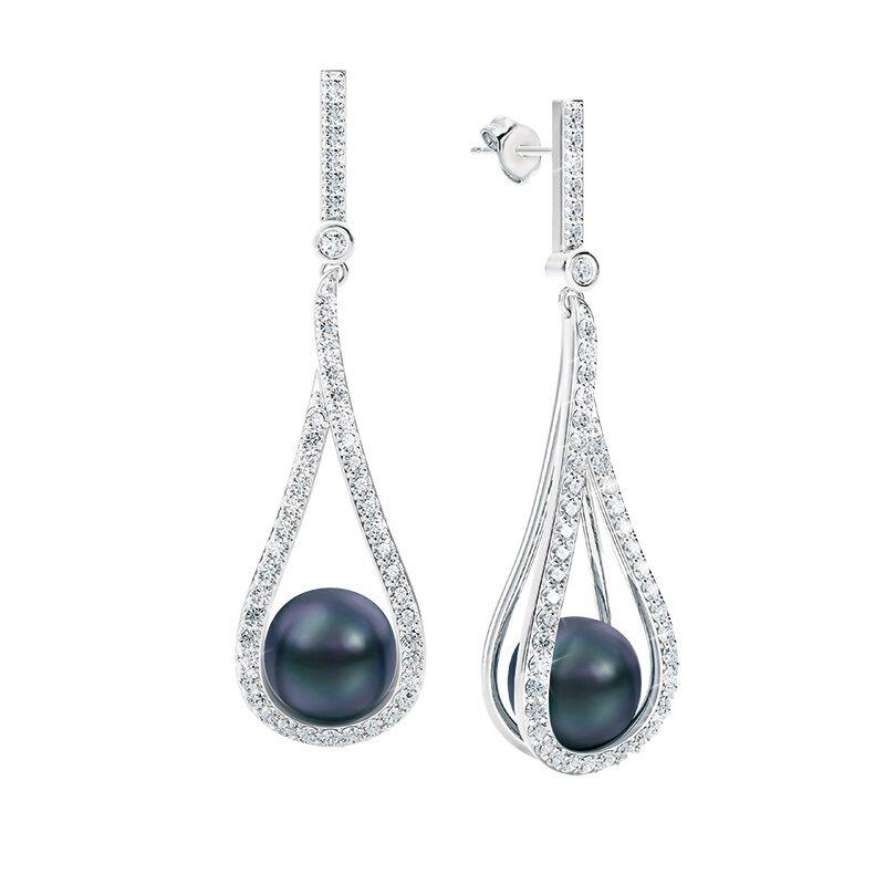 midnight kiss black pearl earrings UK TTBPE a main