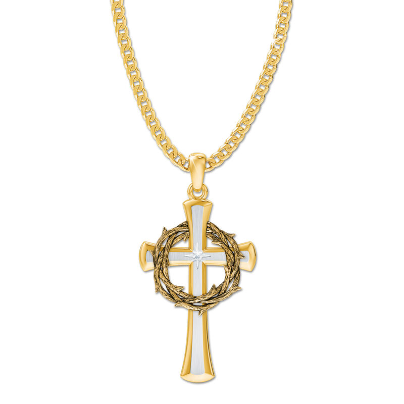 crown of thorns diamond cross pendant UK CTDCP3 a main