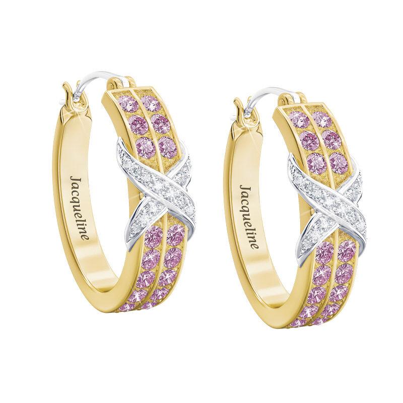 birthstone diamond kiss personalised ear UK BDKPE f six