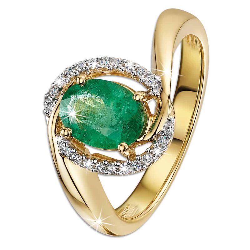 oval zambia emerald diamond 14ct gold ri UK OZEDR a main