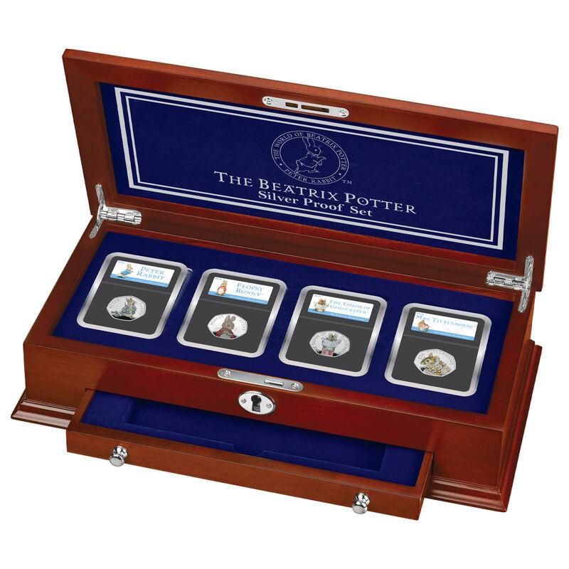 the 2018 beatrix potter silver proof set UK BP18P c three