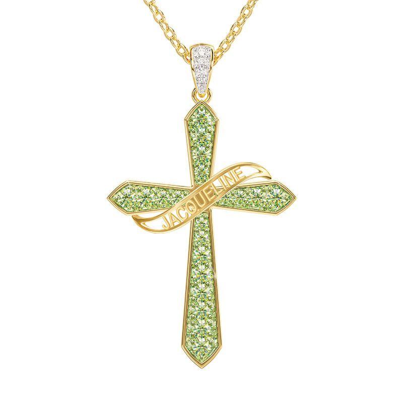 birthstone diamond personalised cross ne UK BSPCN l twelve