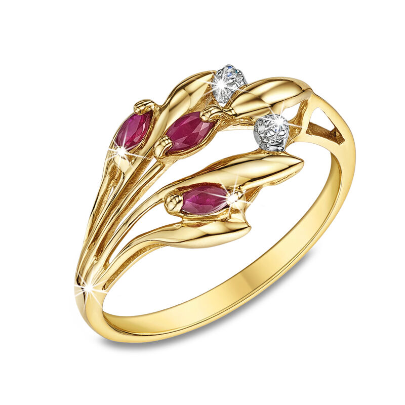 fields of gold ruby 9ct gold ring UK FGRR2 a main
