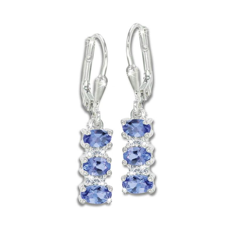 tanzanite sparkle silver earrings UK TSSER a main