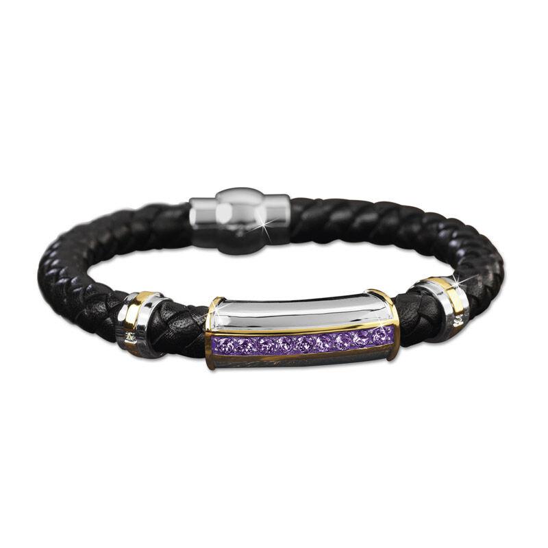 mens birthstone leather bracelet UK MBLBR2 b two