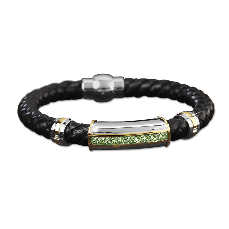 mens birthstone leather bracelet UK MBLBR2 h eight