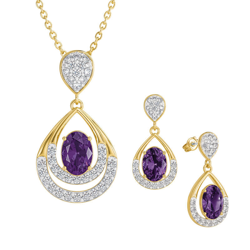 Birthstone Necklace Earring Set UK BSTDS b february