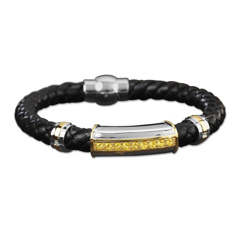 mens birthstone leather bracelet UK MBLBR2 k eleven