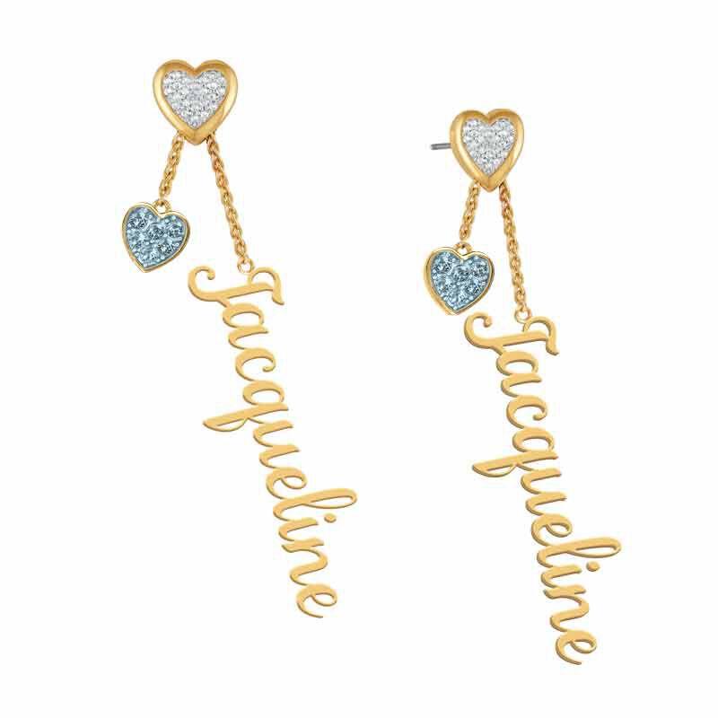 personalised birthstone earrings UK PBEAR c three