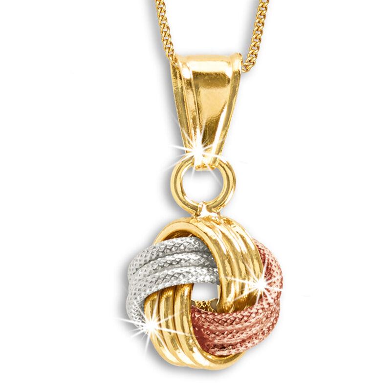 tri gold 9ct love knot pendant UK TLKNP2 a main