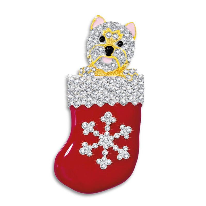 westie pup in stocking brooch UK WPSTB a main
