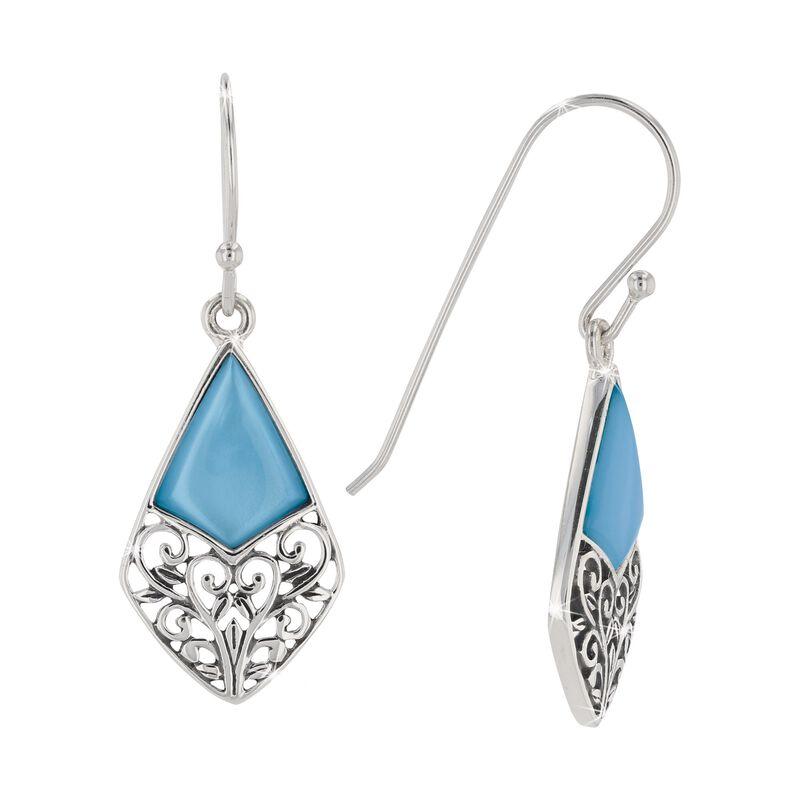 blue mother of pearl drop earrings UK BMOPE a main