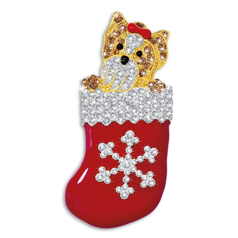 yorkie pup in stocking brooch UK YPSTB a main