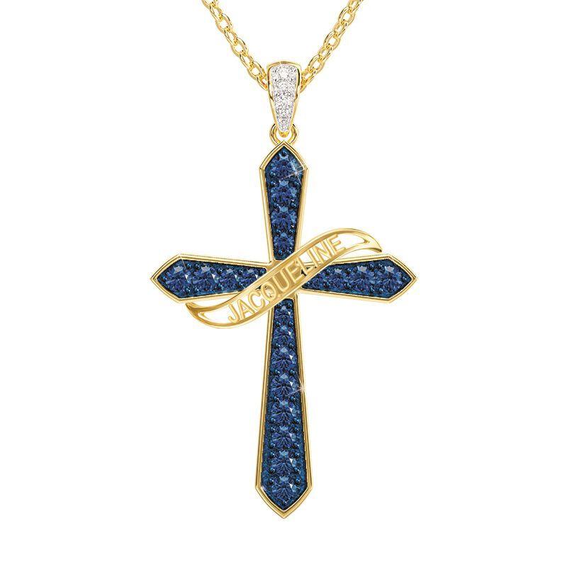 birthstone diamond personalised cross ne UK BSPCN c three