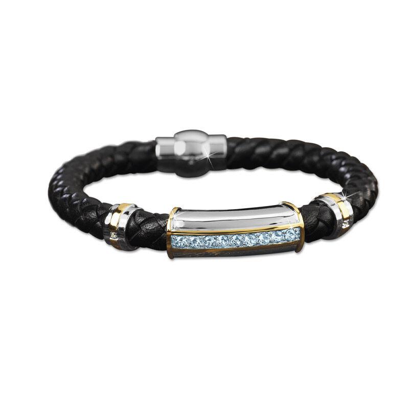 mens birthstone leather bracelet UK MBLBR2 l twelve