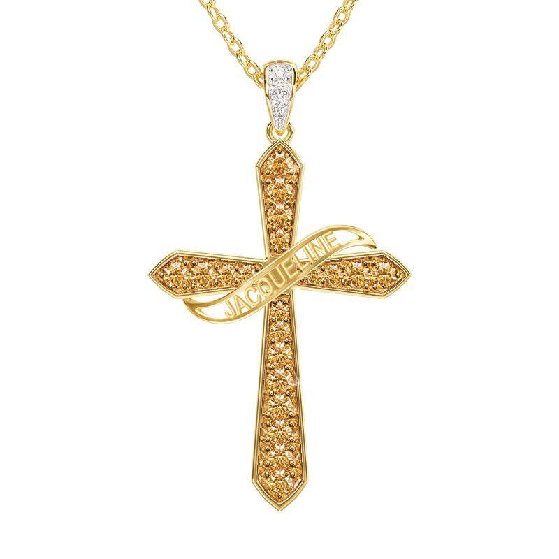 birthstone diamond personalised cross ne UK BSPCN e five