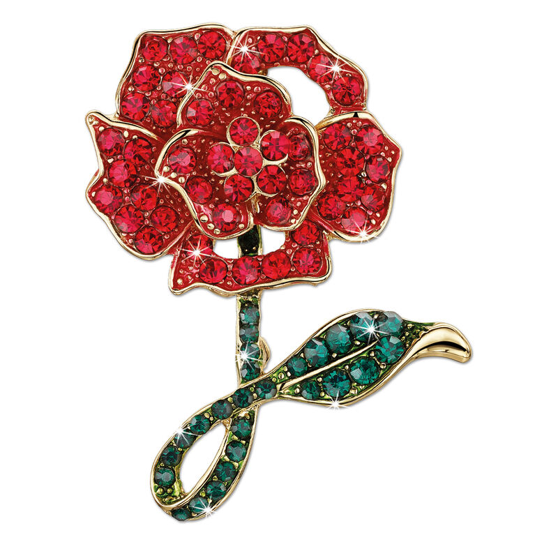 romantic rose crystal brooch UK RRCB a main
