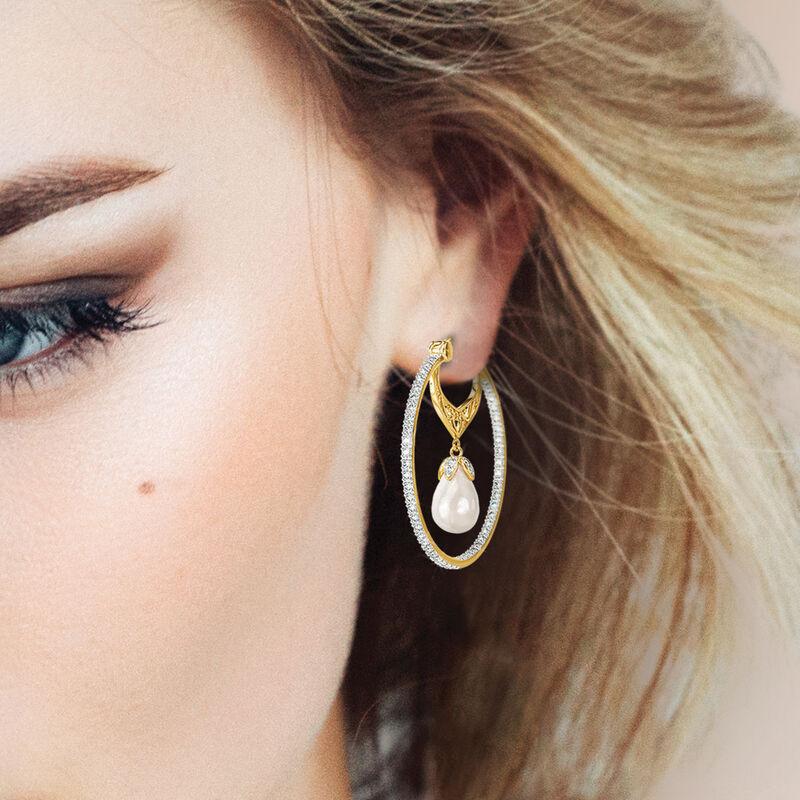 Precious In Pearls Diamond Hoop Earrings 6598 0013 m model