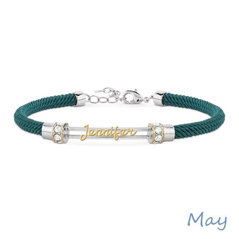 personalised birthstone rope bracelet UK PBRB2 f six
