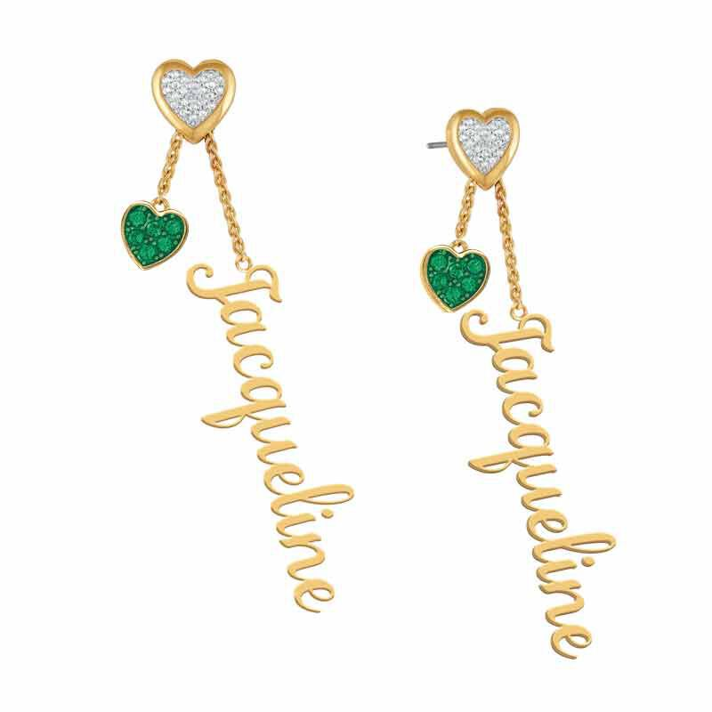 personalised birthstone earrings UK PBEAR j ten