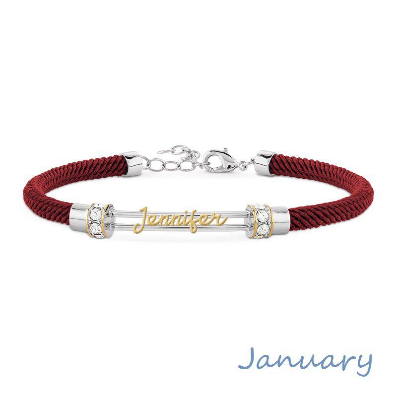 personalised birthstone rope bracelet UK PBRB2 b two