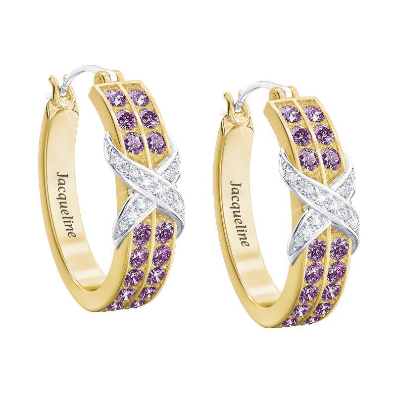 birthstone diamond kiss personalised ear UK BDKPE b two