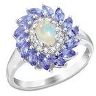 opal tanzanite cluster silver ring UK OTCR a main