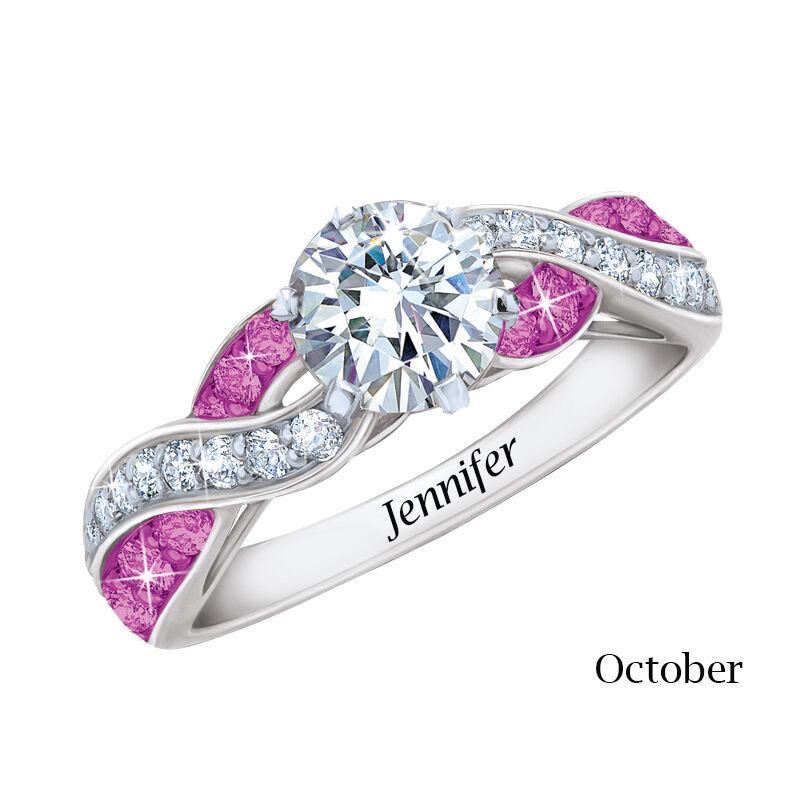 silver plated birthstone swirl ring UK SBSWR j ten
