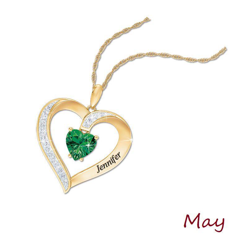personalised birthstone heart pendant UK PBHP f six