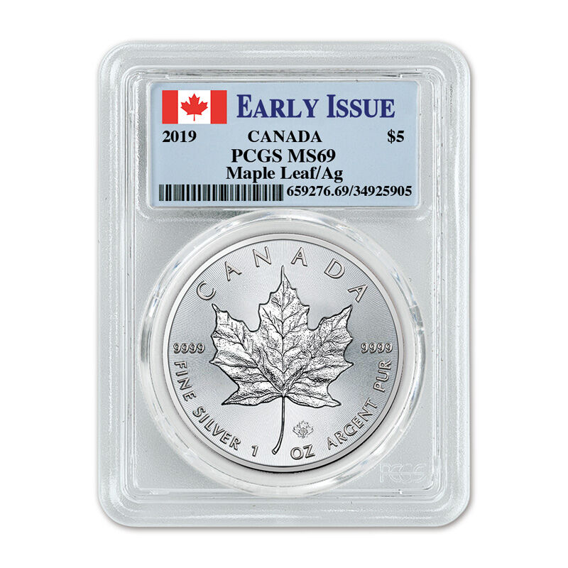 the 2019 early issue silver maple leaf UK C19B b two