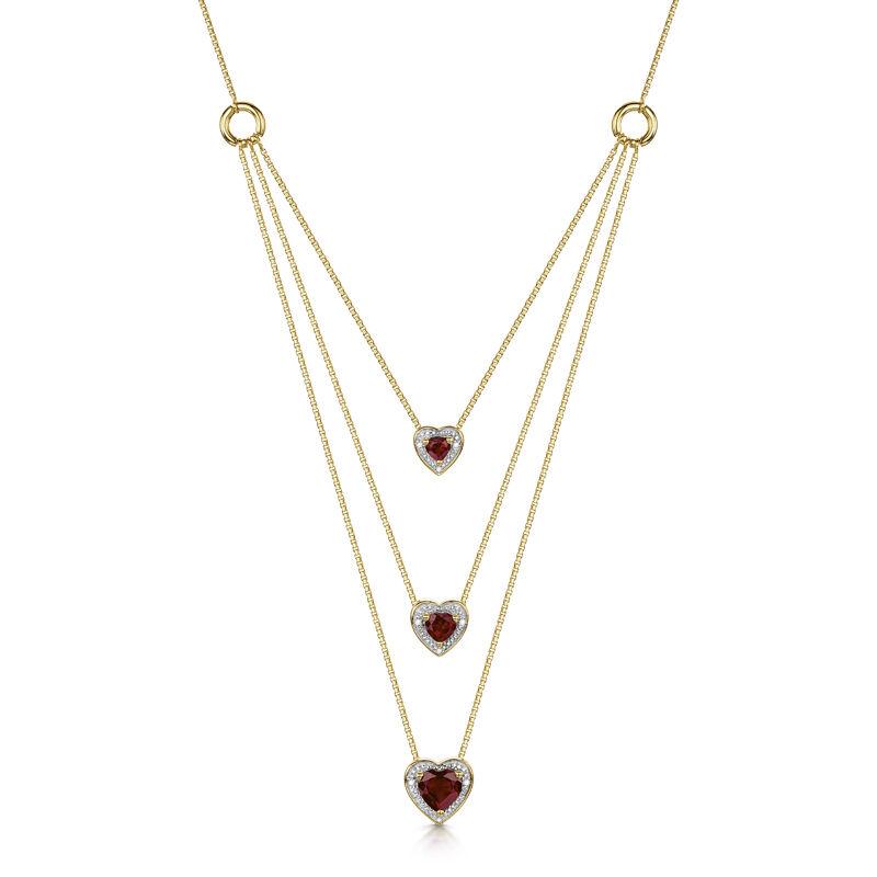 i love you diamond and garnet heart neck UK LYDGHN a main