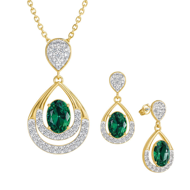 Birthstone Necklace Earring Set UK BSTDS e may