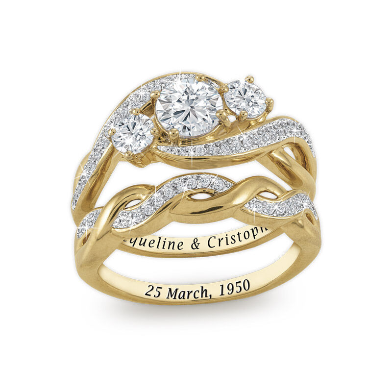 three stone bridal ring set UK TSBS a main